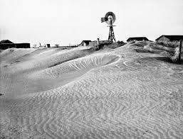Severe drought and dust storms in the mid-west created what's called the Dust Bowl.
