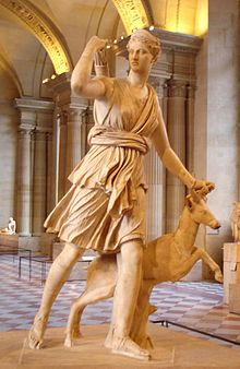 Wikipedia shares this Roman copy of a Greek sculpture by Leochares, on display at the Louvre Museum in Paris.